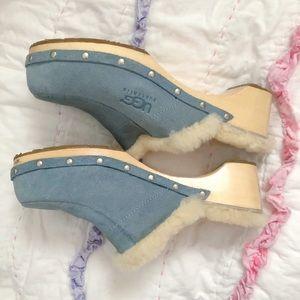 UGG Light Blue Heeled Clogs